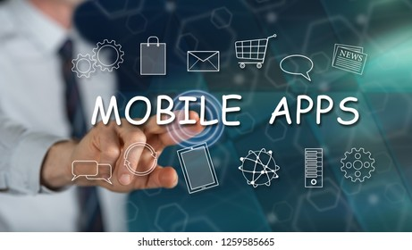 Man touching a mobile apps concept on a touch screen with his finger