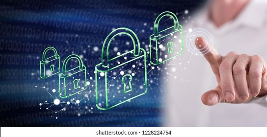 Man touching a network security concept on a touch screen with his finger