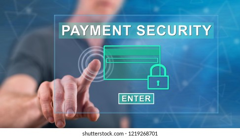 Man touching a payment security concept on a touch screen with his finger