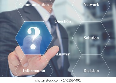 man touching question mark button