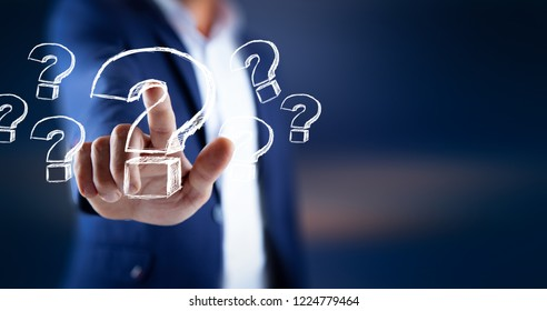 man touching question sign in screen
