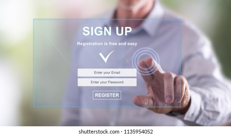 Man touching a signup concept on a touch screen with his finger