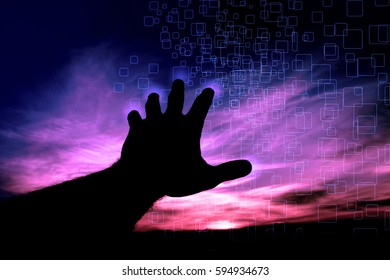 A man touching the sky technology touch screen concept