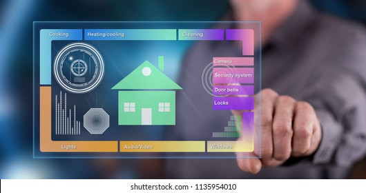 Man touching a smart home concept on a touch screen with his finger