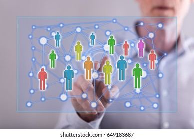 Man touching a social network concept on a touch screen with his finger