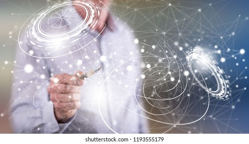 Man touching a virtual technology concept on a touch screen with a pen