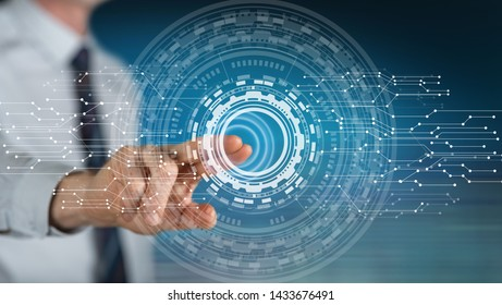 Man touching a virtual technology concept on a touch screen with his finger