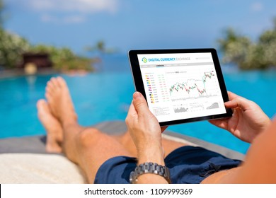 Man trading digital currencies online while relaxing by the pool.