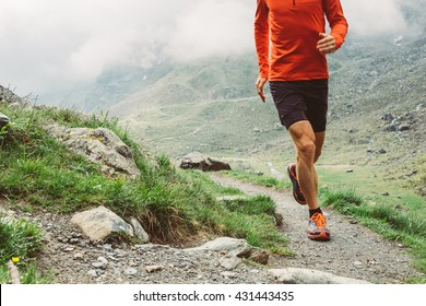 Man trail running in the mountain