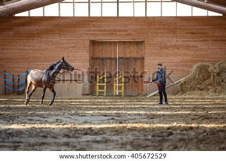 mode de premier ordre 2019 original les mieux notés dernier Man Training His Horse Manege Stock Photo (Edit Now ...