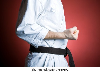 Man training karate, fitness and sport at gym, exercise concept