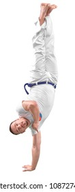 Man trains capoeira in studio isolated on white background. The man does the fighting element of capoeira.