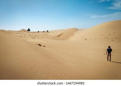 Man traveling through a desert