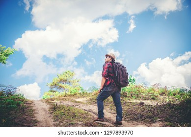Man traveling tourist hiking holiday, wild adventure