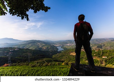 Man traveller stands on a cliff overlooking of river, the vineyards are on a hills Douro Valley, Portugal.