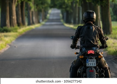 Man travelling on a motorcycle. Picturesque rural road with trees on both sides