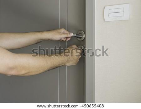 Man Try Open Locked Door By Stock Photo (Edit Now) 450655408
