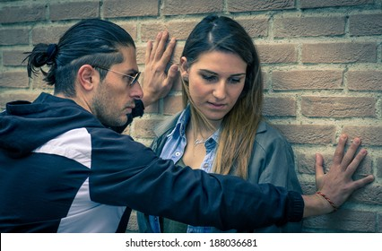 man trying to abuse  his girlfriend