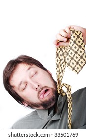 Man is trying to hang up himself with a tie