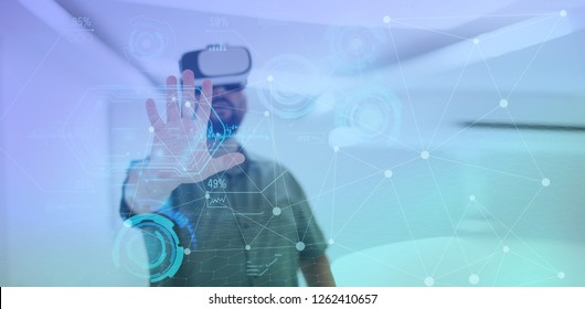 man trying virtual reality vr glasses at modern home with futuristic  neural network  dots graphic design