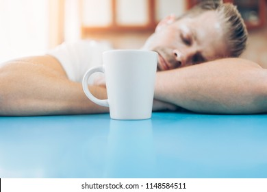 Man trying to wake up in the morning after night out
