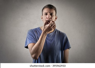 Man trying to whistle