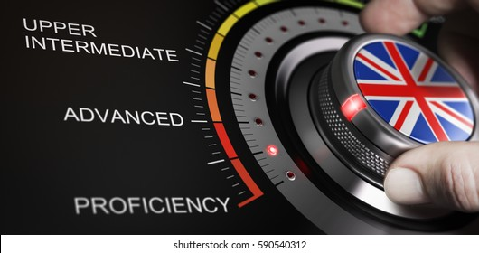 Man turning button with english flag up to proficiency level. Scale of language and progress measurement concept. Composite image between a hand photography and a 3D background.