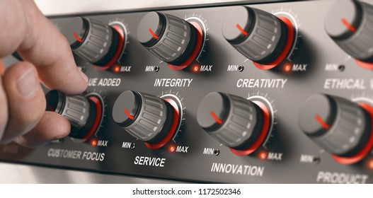 Man turning a button on a dashbord with all core values of a company to set it to the maximum.