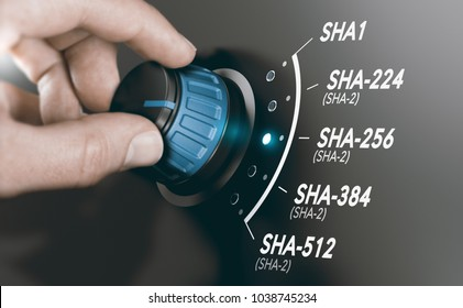 Man turning a cryptography switch to change the cryptographic hash algorithm to SHA-256. Composite image between a hand photography and a 3D background.