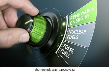 Mann, der einen Schaltknopf für den Energieübergang dreht, um von fossilen Brennstoffen auf erneuerbare Energien zu wechseln. Zusammenspiel von Bild zwischen Handfotografie und 3D-Hintergrund.