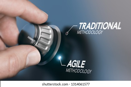 Man turning knob to changing project management methodology from traditional to agile PM. Composite image between a hand photography and a 3D background.