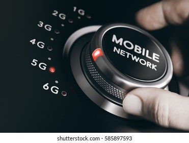 Man turning the mobile network selector button to the next 5G generation. Telecommunication standards concept. Composite between an image and a 3D background.