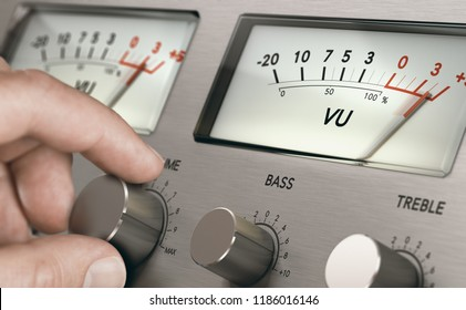Man turning volume button of a vintage analogic amplifier to increase sound volume. Composite image between a hand photography and a 3D background.