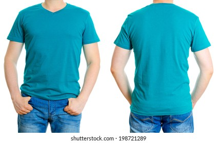 Man in turquoise t-shirt. Isolated on white background.