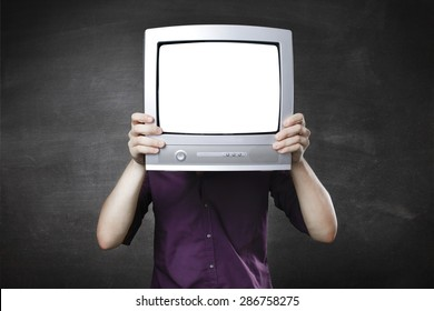man with tv head on a gray background