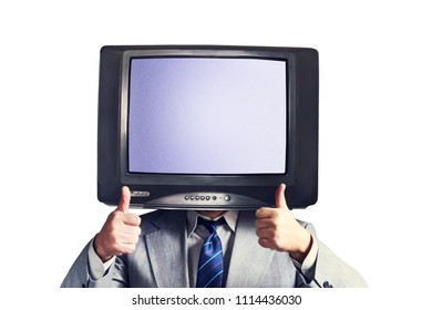 Man with a TV instead of a head isolated on a white background. Place for text. Multimedia Social networks concept. Copy space.
