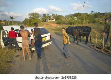 Man with two oxen pulling sled past broken down Fiat car in the Valle de Vi�¢??ales, in central Cuba