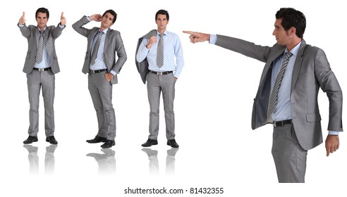 man in two-piece grey suit striking different poses