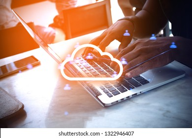 man with type on notebook computer with network connection web, ai technology, business and application data, social of online server, communication signal, lifestyle and media market, working office
