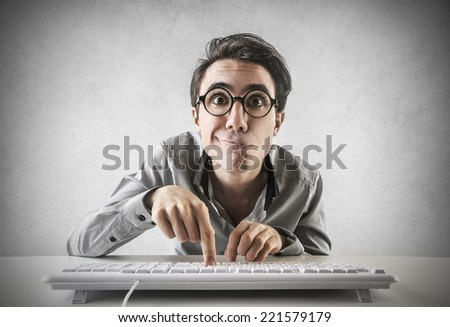Man typing on the keyboard