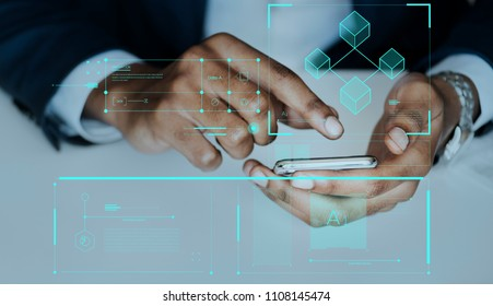Man typing on a smartphone