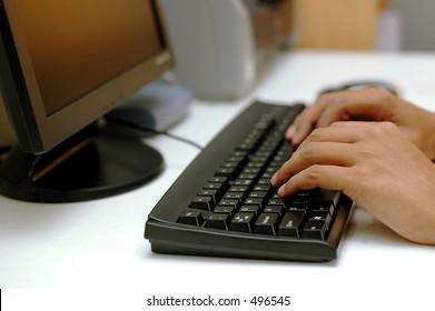 Man typing/working