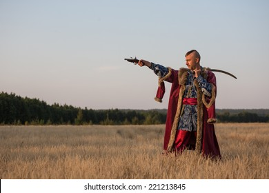 The man in the Ukrainian national costume Cossack