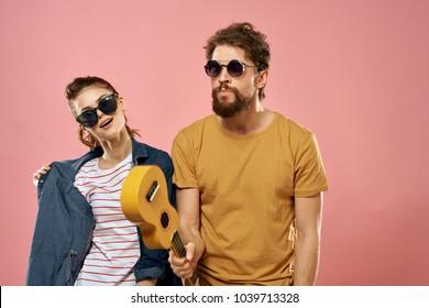 man, ukulele, woman