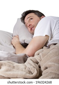 man unable to sleep because of loud noise