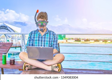 A man in an underwater mask, working on vacation.