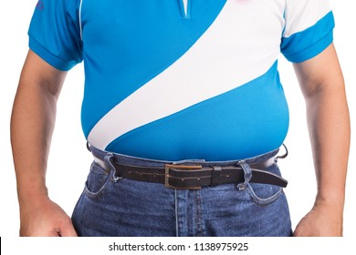 Man with unhealthy big tummy with visceral or subcutaneous fats. Pose health risk.