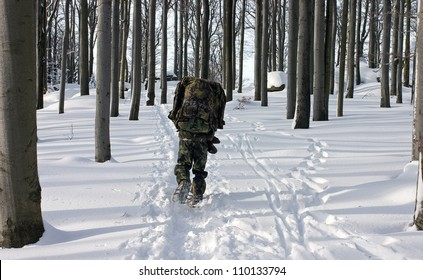 A Man in the Uniform Walking Through Winter Forest with Snowshoes (Winter Survival)