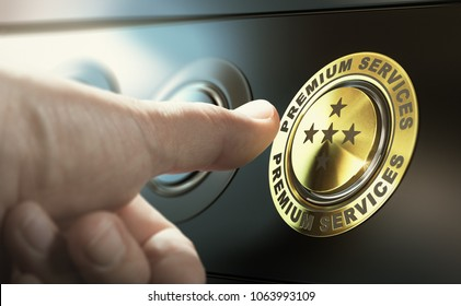 Man upgrading to premium service by pressing a golden button. Composite image between a hand photography
