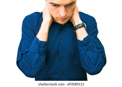 man, upset, worried, sore neck, isolated, white background